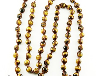 Hand Knotted Tiger's Eye Long Necklace (N71)
