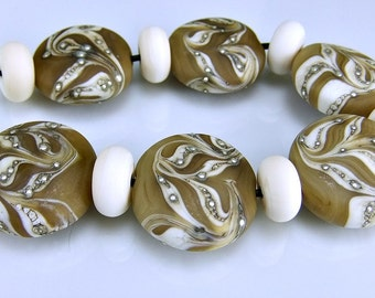 Etched Tan Ivory Silver Round Organic Lampwork Beads Set SRA Glass Beads