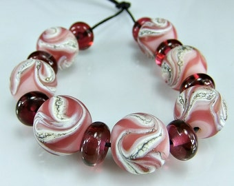 Etched Pink and Silvered Ivory Lampwork Bead Set SRA Handmade Glass Beads