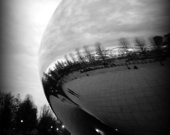 Chicago Bean - Sculpt (Cloud Gate black and white photography, urban landmark modern architecture silver liquid mercury art sculpture)