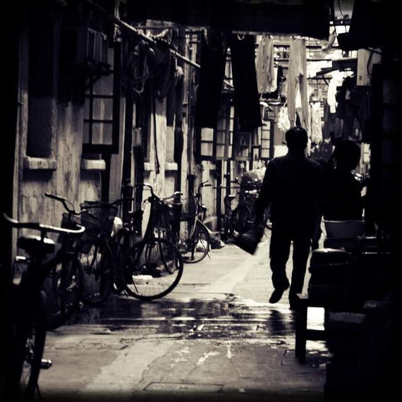 Old Shanghai - Going Home (black and white China travel photography print man going home walking alley laundry bicycles window editorial)