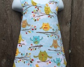 Pinafore Size 2T --- Spring Owls Reversible Top (((ready to ship)))