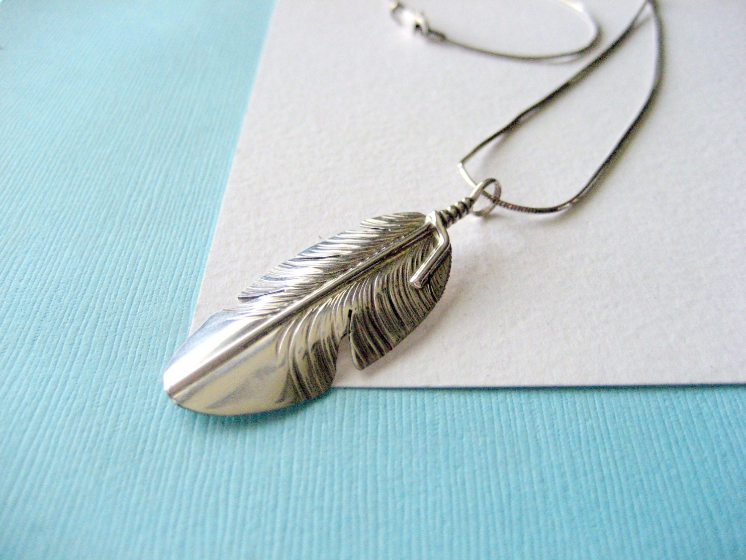 navajo sterling silver feather pendant and by