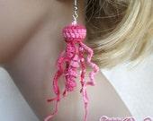 Pink Beaded Jellyfish Crochet Silver Hook Earrings