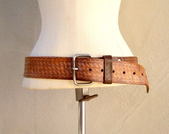 Distressed leather belt / rugged patina boho belt / WIDE embossed tooled rocker belt / 31-41 inches