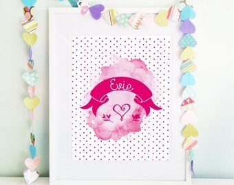 Fairy floss personalised girls wall art