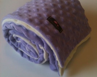 Minky Blanket- Cream and Lavender  35 x 30