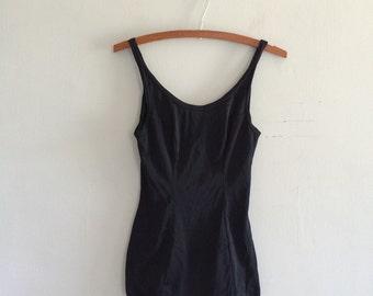 Black one piece swimsuit / 1960s bathing suit