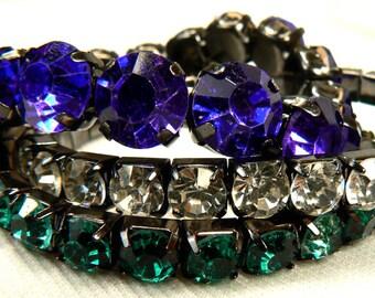 Rhinestone Bracelet Set, 3 Vintage Stretch Bracelets, Layering Stacking Bracelets, Blue Bracelet, Green Bracelet, Crystal Bracelet (B58)