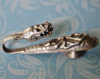 Antique Chinese Silver Dragon Belt Buckle Rattle 19th Century Childs Rare Asian
