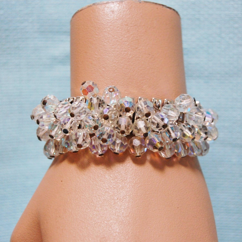 Crystal Bead Beads: Vintage Aurora Borealis Crystal Bead Cha Cha Bracelet