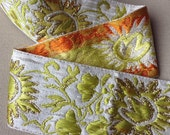 Embroidered chartreuse, lime, yellow, orange, gold decorative flower trim / traditional trim / decorative border  / 1 yard x 6.5cm, 2.5""