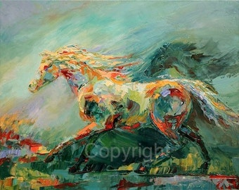 Abstract Horse Painting on canvas or paper of 'Fluid Motion'