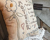 Decorative Mother'sDay Pillow, Hand Stitched Pillow, Mother's, Love, Children, COSOFG