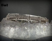 Sterling Silver Wire Wrapped Bracelet - Weaved with Fine Silver