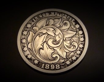 Hand Engraved Silver Quarter 1898 Love Token
