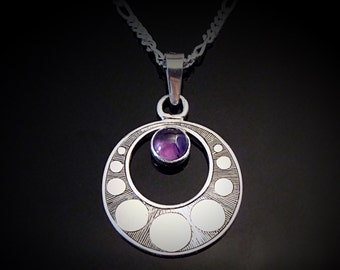 Hand Engraved Art Deco Inspired Sterling Silver And Amethyst Necklace