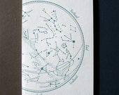 letterpress notebook Constellations recycled