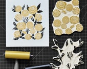 Marigolds - Original Block Print Linocut by Andrea Lauren