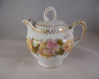 Vintage Bavarian Empire Teapot with Pretty Pale Pink and Yellow Flowers and Gold Trim