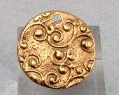 Ornate Disc Pendant, Antique Gold, 22 MM, AG258