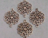 Small Filigree Connector, Antique Silver, 4 Pieces, AS326