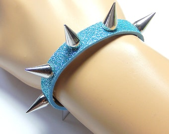 Blue Spiked Bracelet, Glitter Studded Cuff, Pastel Goth, Fairy Kei