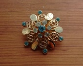Vintage Goldtone and Blue Rhinestone Coro Designer Pin