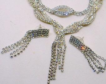 Vintage Rhinestone Bridal Set - Rhinestone Dangle Necklace,Earrings,Bracelet - Wedding - Prom - Real Sparkle - Mother of the Bride Set