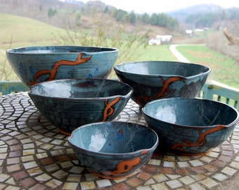 Set of Five Nesting Serving Bowls in Slate Blue and Rust Chain- Made to Order