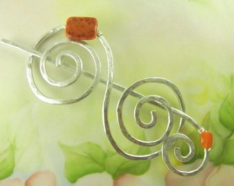 Silver Hair Slide Double Spiral with Fire Agate and Carnelian