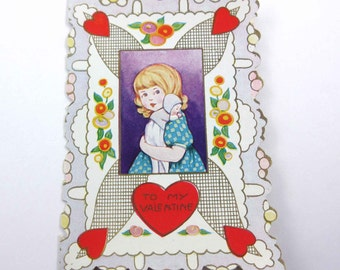 Vintage Whitney Made Fancy Antique Valentine Greeting Card with Little Girl and Baby Doll Gold