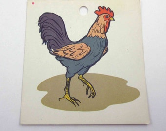 Vintage Children's School Flash Card with Picture for Rooster in Color