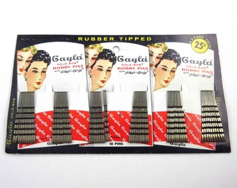 Vintage 1950s Gayla Hold Bob Rubber Tipped Bobby Pins on Original Card with Retro Ladies Deadstock Gaylord Products