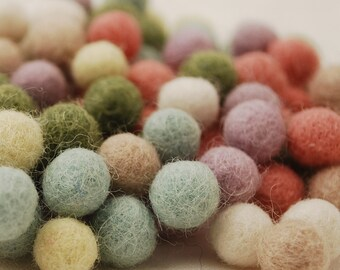 1cm / 10mm - 100% Wool Felt Balls - 100 Count - Assorted Pastel Colors