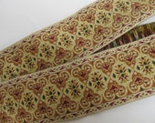 3 yards BAGHDAD wide Jacquard trim tan green burgundy gold on cream. 359-C