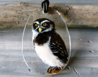 Owl  necklace - fused glass pendant