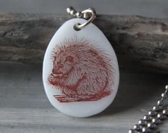 Porcupine - fused glass pendant