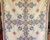 Colorful Vintage Needlepoint Tablecloth as Sewing Ephemera Vintage Embroidered Fabric Folk Embroidery
