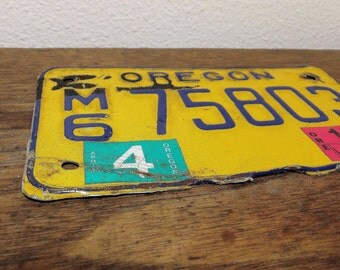 Found License Plate Metal Rusty Found Art Element Blue and Yellow Metal Scrap Motorcycle Home Decor Man Cave Decor Oregon Plates Northwest