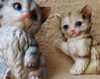 Pair of Vintage Kitten Figurines Mid Century Cat Figures Kitty Sculptures Porcelain Cats