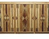 Bullhead XX White Oak Native / American Indian Pattern Sideboard / Buffet / Cabinet rustic modern w/ reclaimed wood inlay FREE SHIPPING!