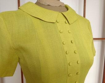 Vintage Yellow Linen A-line Dress Xsmall