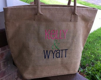 Personalized Monogram Large Jute Tote Bag w/ Cotton Handle
