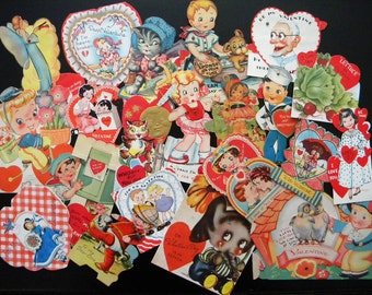 Vintage Lot of 21 Valentine's Day Cards Mechanical, Fold Outs and Die Cuts