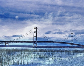 Bridge Photography, Mackinac Bridge, Michigan Decor, Nature Photo, Summer Storm, Fine Art Print, Blue Artwork, Silver Cloud, Wall Decor