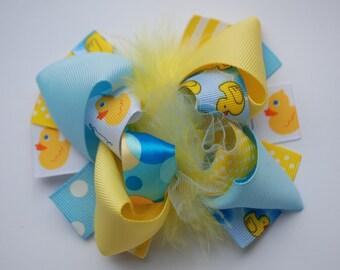 boutique mini mod RUBBER DUCKY hair bow clip