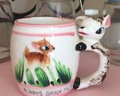 SALE Always Drink Milk vintage pink deer mug from the 1950s - kitsch mug for children