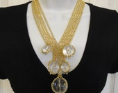 Vintage Necklace, 1980s five clear glass balls on multi chain V-neck strand, Unsigned but fabulous, Unique, Excellent Condition