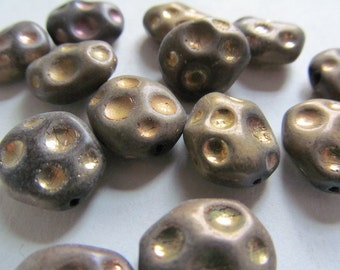 Vintage Glass Beads (4) West German Bronze/Gold Moon Crater Beads